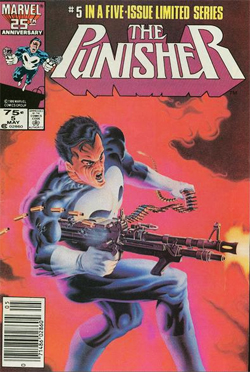 Punisher limited series issue 5, cover pencils by Mike Zeck and airbrushed over by Phil Zimelman.