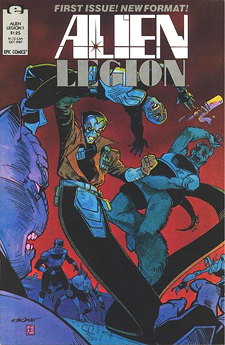 First issue of the second Alien legion series, from 1987. Cover by Larry Stroman and Frank Cirroco.