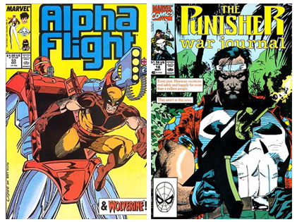 Covers to two of our favorite Carl Potts / Jim Lee issues, Alpha Flight 53 and Punisher War Journal 18.