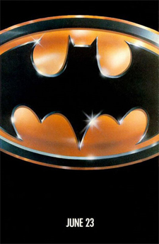 Teaser poster for the first Tim Burton Batman movie, from 1989.