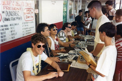 Punisher Hawaii Tour 1988. That's Mike Baron, Carl Potts, Jim Lee, Scott Williams, and Whilce Portacio. (Thanks to Carl for the pic!)