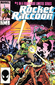 1985's Rocket Raccoon, Mike Mignola's first series assignment as a penciller.
