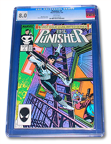 Slabbed first issue of the ongoing 1987 Punisher series, graded 8.0. Not worth being graded by CGC, in this condition.